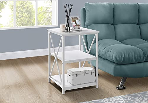 Monarch Specialties Rectangular End Accent Nightstand X-Cross Storage Shelves Side Table