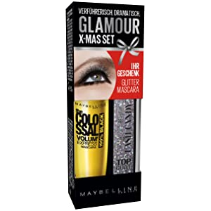 Maybelline New York Ojos de maquillaje (Mascara The Colossal Volum 'Express Brown Plus purpurina Top Coat/EyeCare – Rímel y Candy glittertopcoat (Aplicar Una vez – kolossales Volumen)