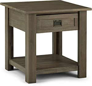 SIMPLIHOME Monroe SOLID ACACIA WOOD 22 inch Wide Square Rustic End Table in Distressed Grey with Storage, 1 Drawer, for the Living Room and Bedroom