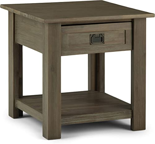 SIMPLIHOME Monroe SOLID ACACIA WOOD 22 inch Wide Square Rustic End Table
