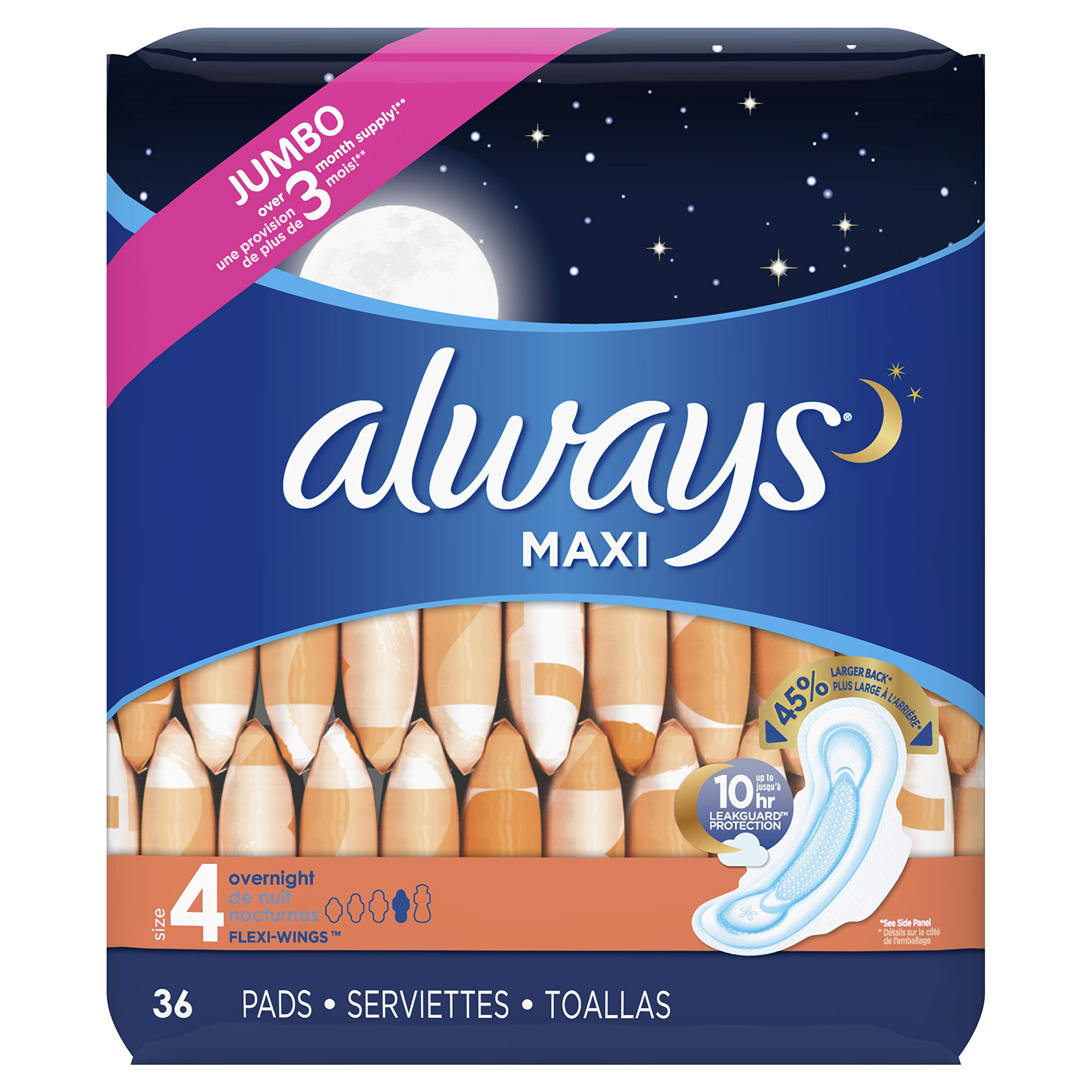 Always Maxi Unscented Pads with Wings, Overnight, 36 Count (Pack of 2) by Always