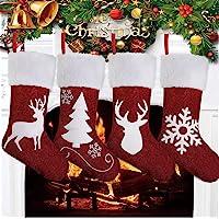 AMAMDHGA Christmas Stockings Set of 4, Large Xmas Sock Sack Gift Bag Christmas Holiday Stockings for Family Fireplace…