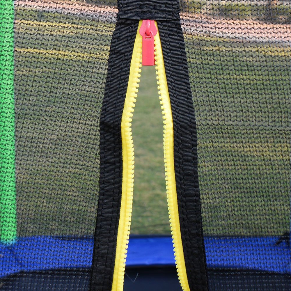 Clevr 7ft Kids Trampoline with Safety Enclosure Net & Spring Pad, 7-Foot Outdoor Round Bounce Jumper 84'' Indoor/Outdoor, Built-in Zipper Heavy Duty Frame, Green and Blue | Great Birthday Gift by Clevr (Image #5)