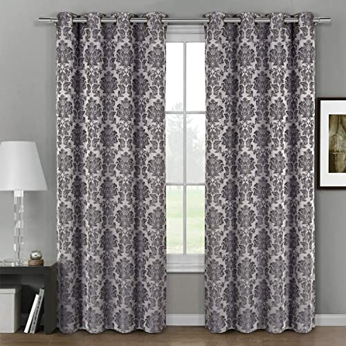 Deluxe Energy Efficient Room Darkening. Pair of Two Top Floral Grommet Jacquard Curtain Panel