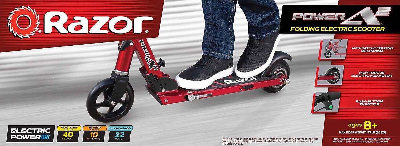 Amazon.com: Razor Power A2 - Patinete eléctrico, color rojo ...
