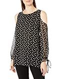 Amazon Brand - Lark & Ro Women's Long Sleeve Cold Shoulder Printed Crimped Blouse