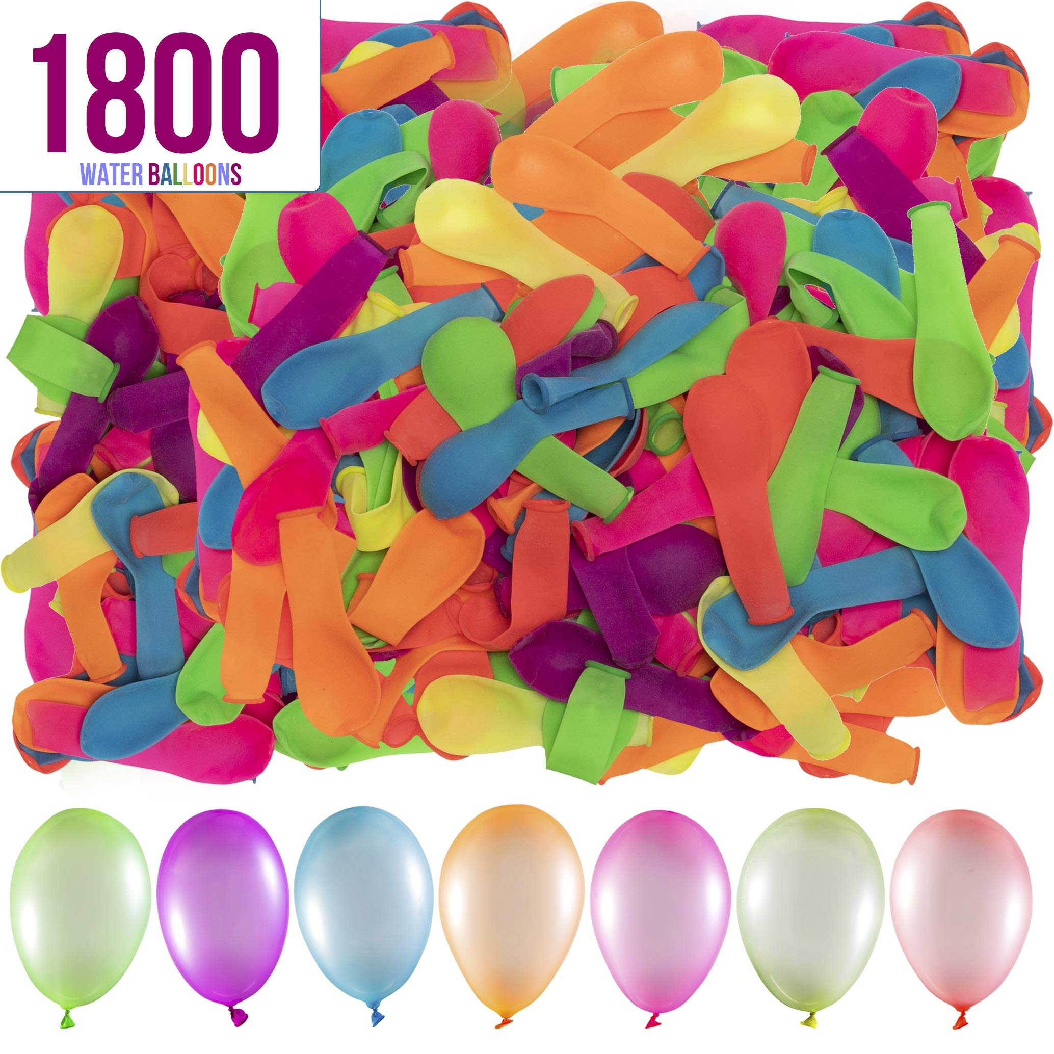 Prextex 1800 Water Balloons Bulk Balloons Pack for Water Sports Fun, Splash Fights for Pools and Outdoors, Summer Outdoor Water Games and Party Favors by Prextex