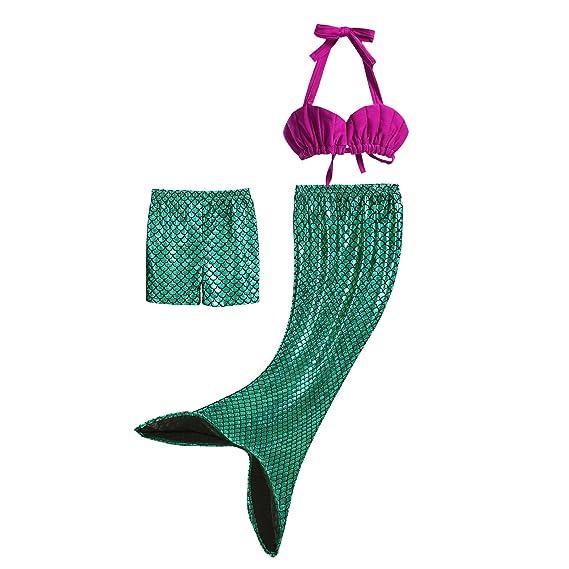 Pettigirl 3Pcs Bañador Sirena Disfraz Princesa Bikini Niñas: Amazon ...