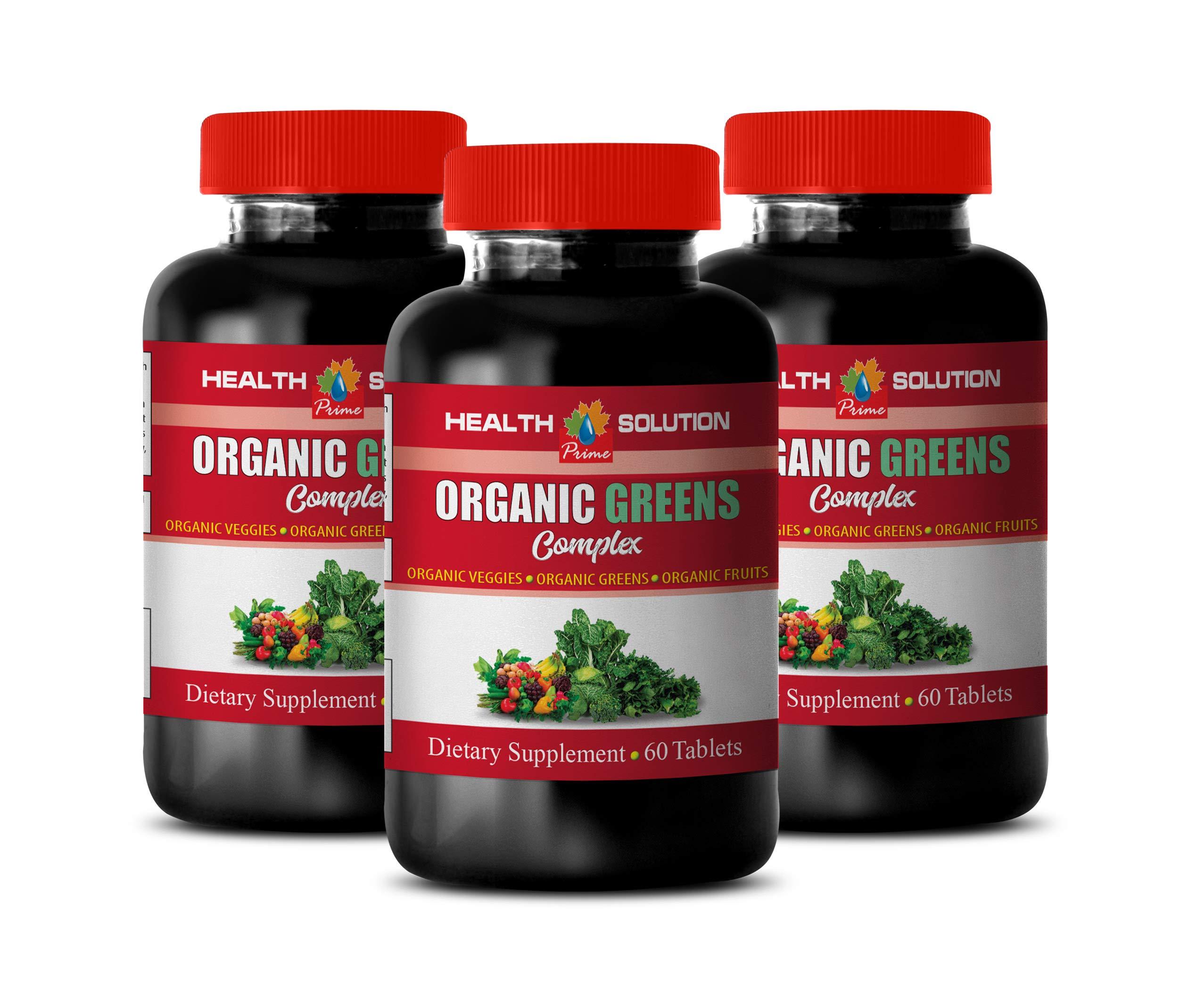 Immune System Pills Organic - Greens Organic Complex - Dietary Supplement - Raspberry Vitamins - 3 Bottles 180 Tablets