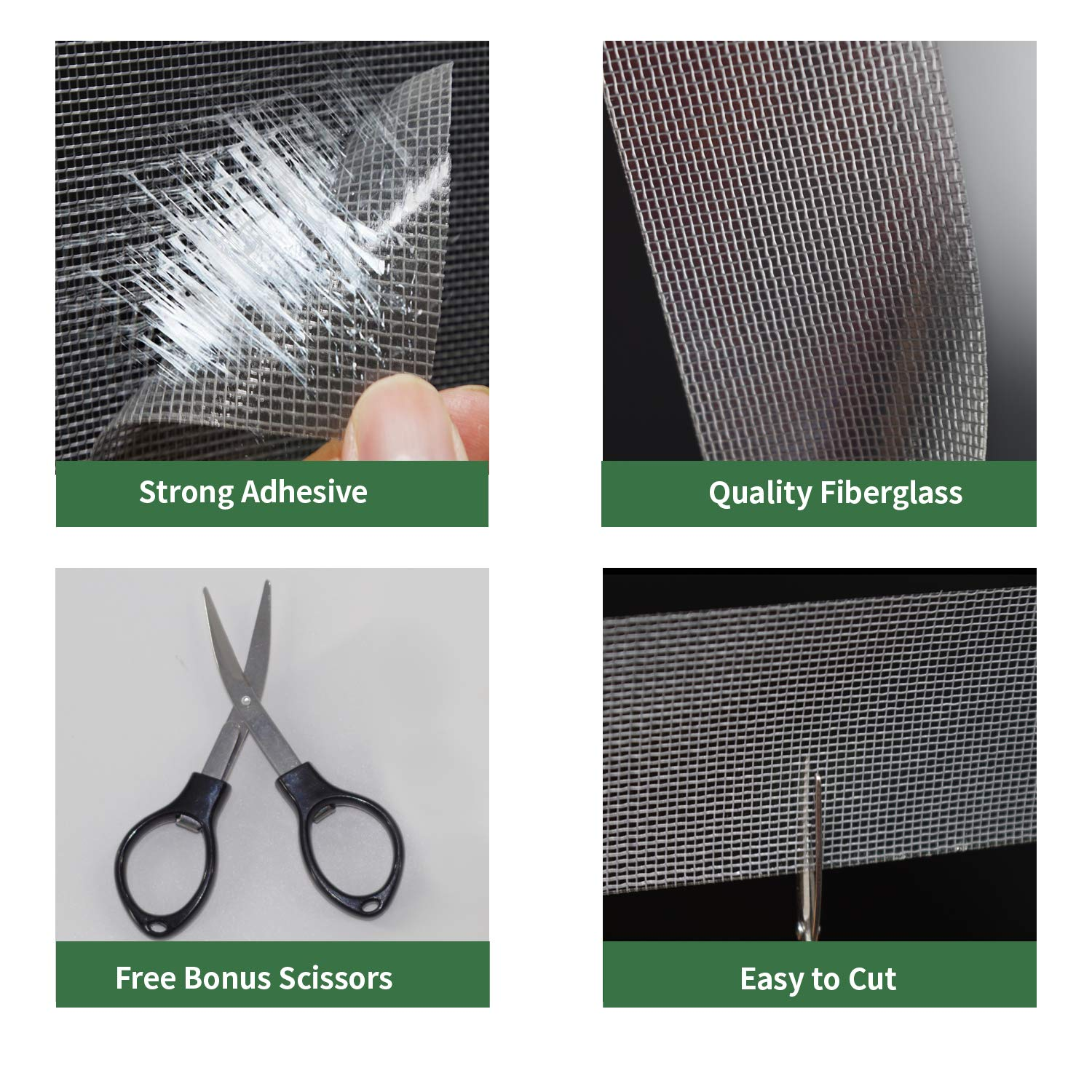 Gray Screen Repair Kit 2 Inch x 10 Feet Window and Door Screen Repair Patch Tape Strong with 3M Adhesive