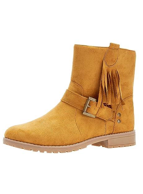 06320a9f9 oodji Ultra Mujer Botas de Ante Sintético con Flecos  Amazon.es  Zapatos y  complementos