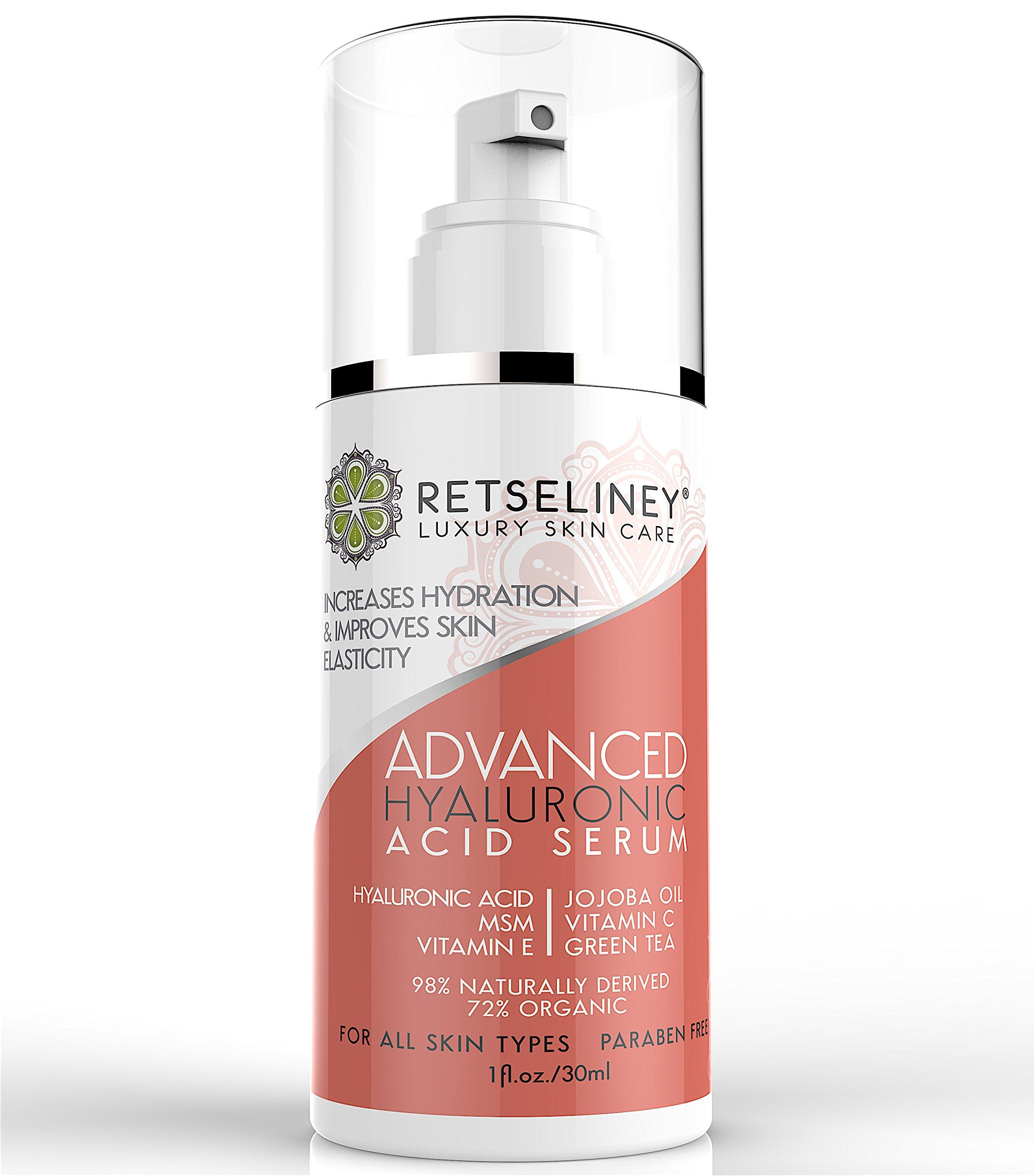 Retseliney Vegan Hyaluronic Acid Serum for Face, 1 ounce