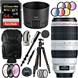 Canon EF 100-400mm f/4.5-5.6L IS II USM Lens with Deluxe Tripod Plus 64GB Accessories Bundle