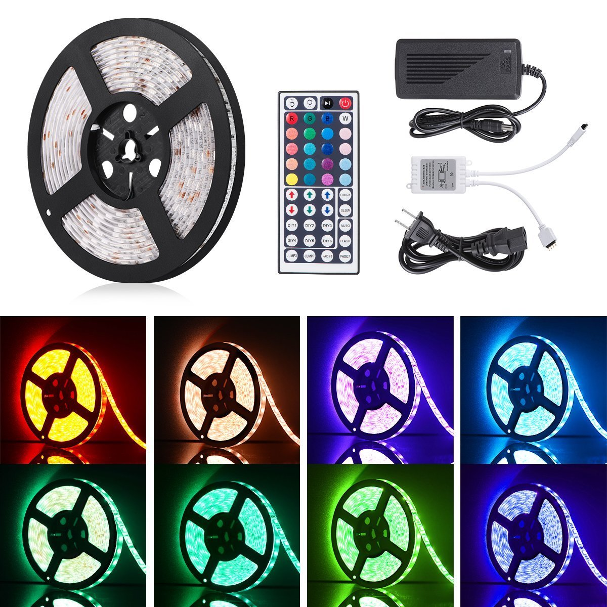 Boomile 16.4ft 12V Flexible LED Light Strip, LED Tape, RGB 300 Units SMD 5050 LEDs, Waterproof, LED Ribbon, LED Light Strips, For Home/Kitchen/Car/Bar, Power Adapter Included