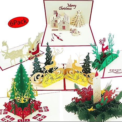 Amazon.com: Tarjetas de Navidad 3D desplegables | Juego de 6 ...