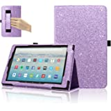 Fire HD 10 Tablet Case (7th Generation, 2017 Release), ACdream Premium PU Folio Leather Tablet Case for All-New Amazon Fire HD 10 Tablet with Auto Wake Sleep Feature, Purple Star of Paris