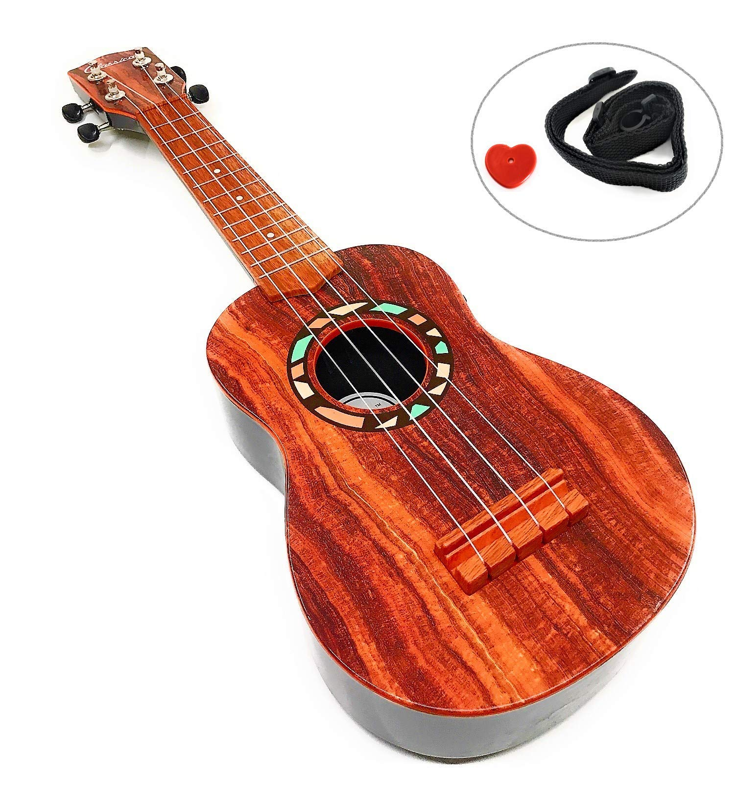 Kids 4 String Acoustic Classic Guitar Musical Instrument Toy w/ Ukulele Strap , Guitar Pick & Tunable Vibrant Ukulele Sounds , Acoustic Guitar for Ages 3+ (21'')
