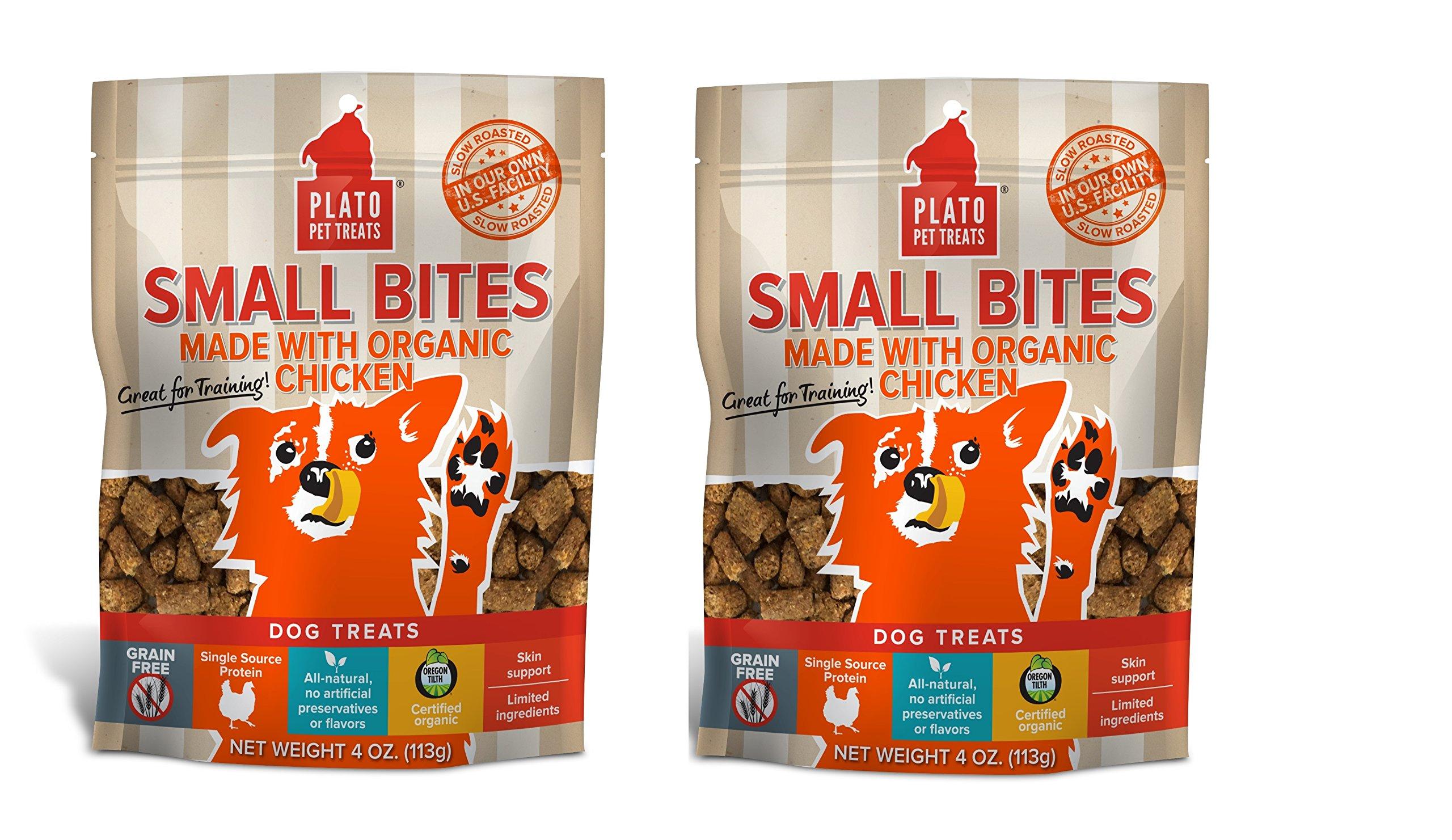 PLATO Dog Treats -Small Bites Organic Chicken- 4 oz (2 pack)