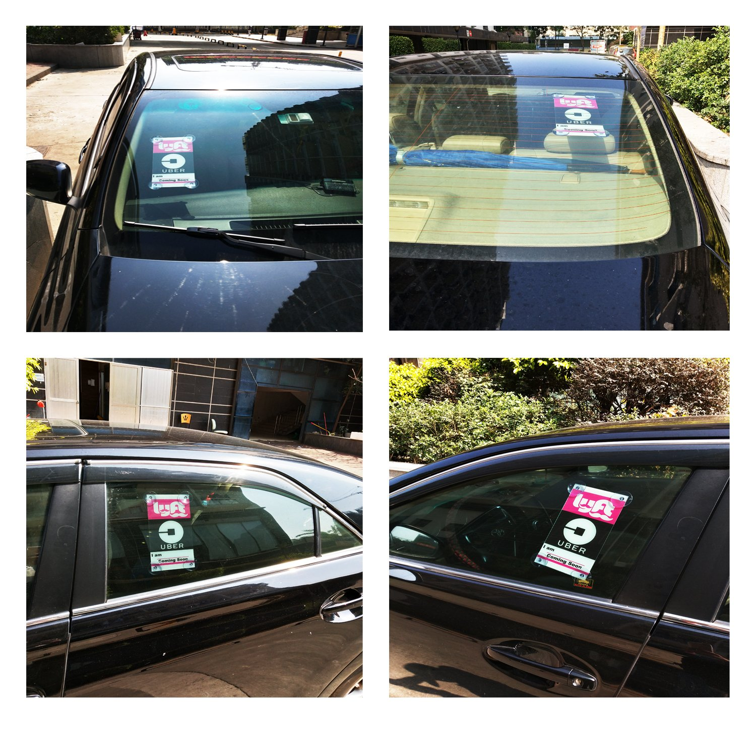 RUN HELIX UBER Lyft Removable Largest Sign Decal 2 Pack New Uber Lyft Logo Laminated with Bigger Suction Cups