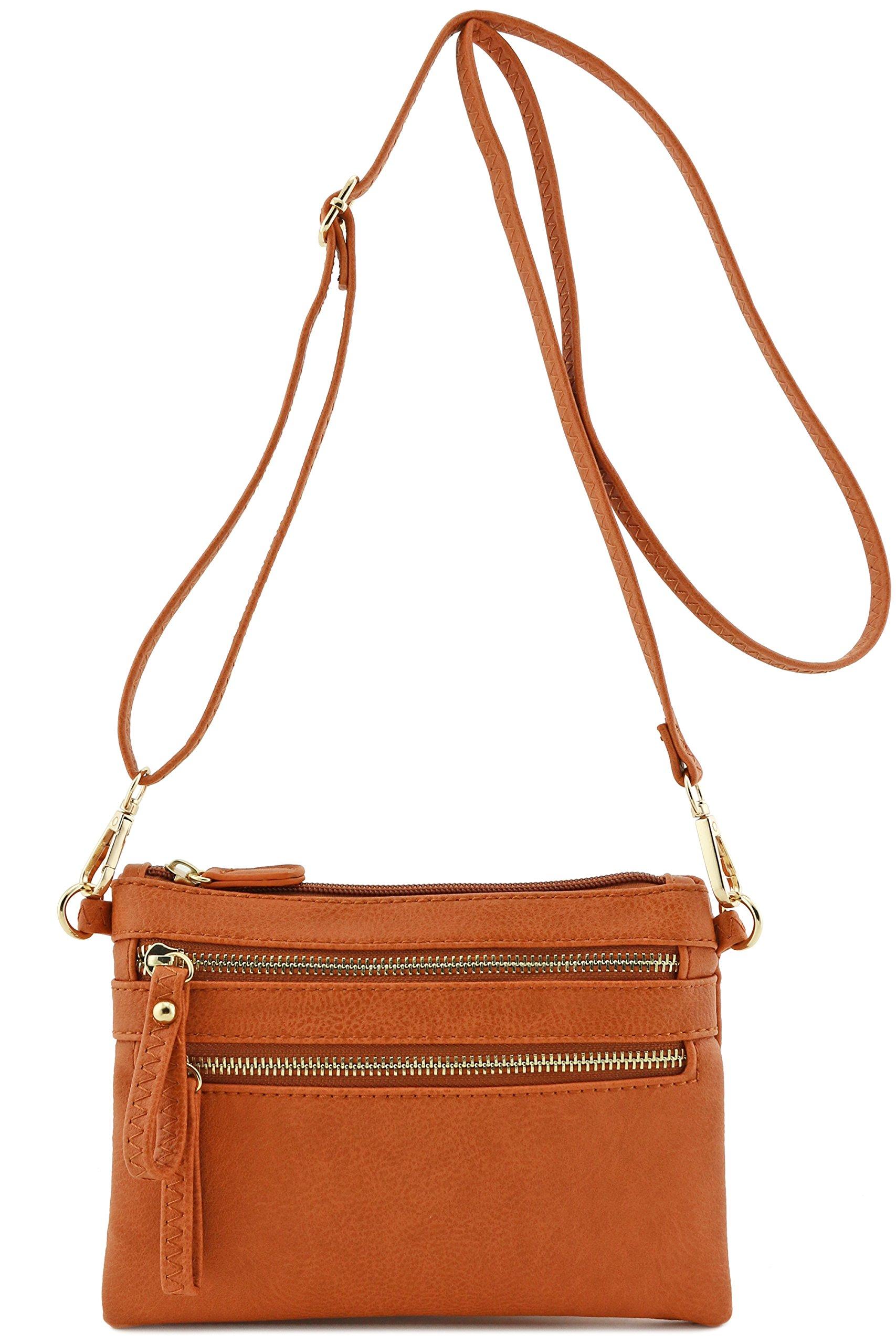 Multi Zipper Pocket Small Wristlet Crossbody Bag (Topaz)