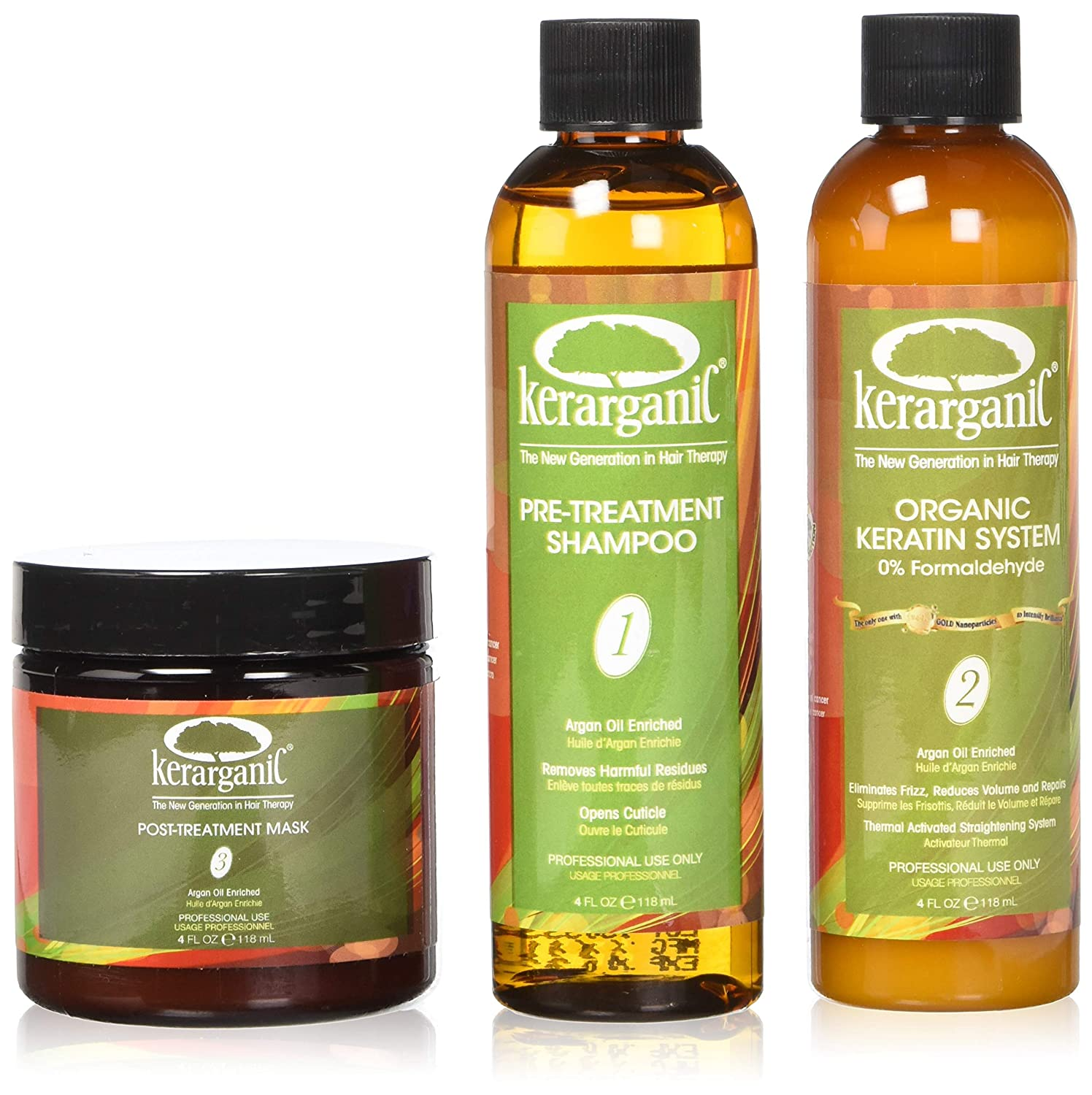 KERARGANIC KERATIN TREATMENT SET - ORGANIC - FORMALDEHYDE FREE - 4oz Kit