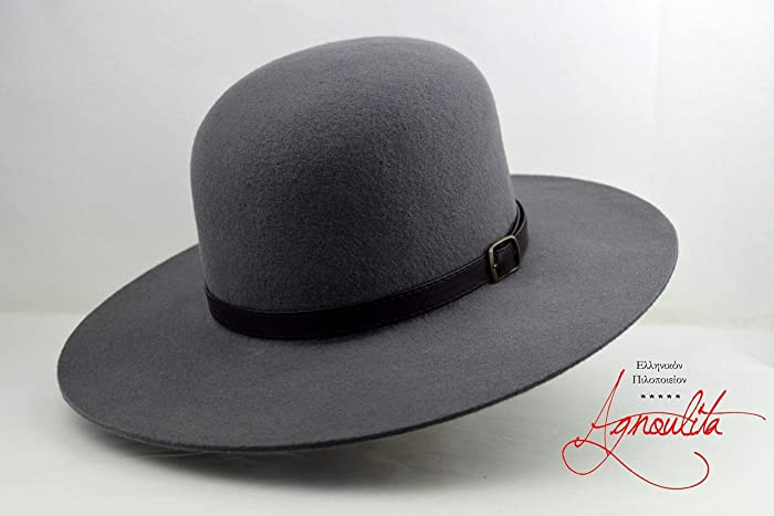 11f0ffe892b6db Amazon.com: The Livaja - Wool Felt Round Crown Handmade Tiller Hat - Wide  Brim - Men Women: Handmade