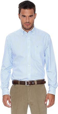 Pedro del Hierro Camisa Non Iron Rayas Azul/Blanco S: Amazon.es: Ropa y accesorios