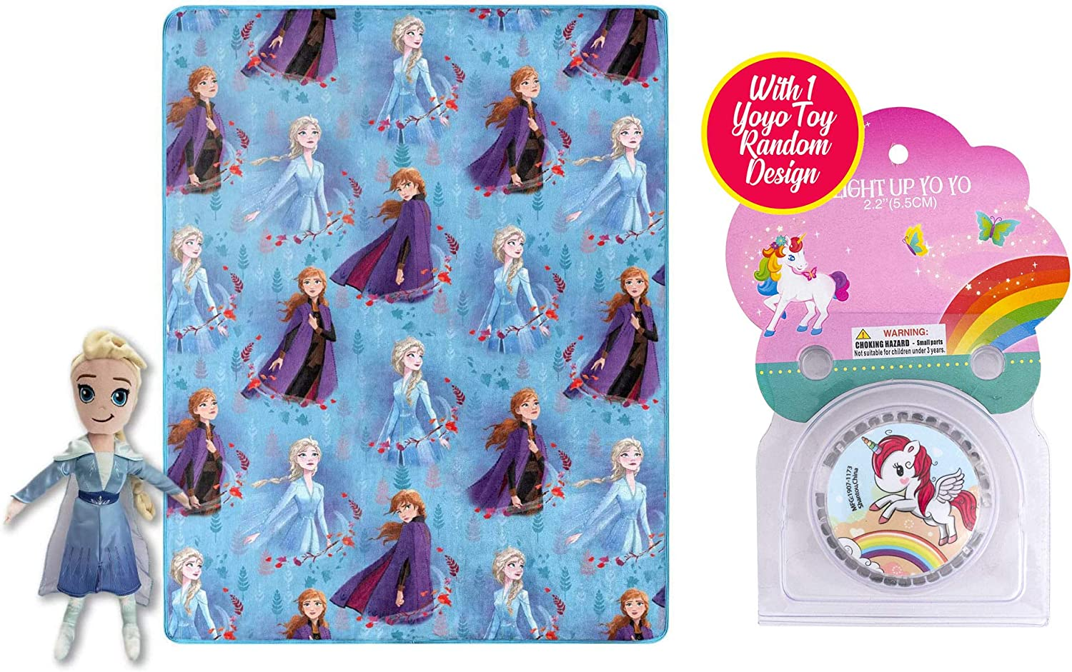 Sister Novelties Kids Character Pillow with Matching Throw Blanket Bundle with 1 Random Light Up Yoyo Toy, Gift Ideas for Children (Frozen 2 Elsa)