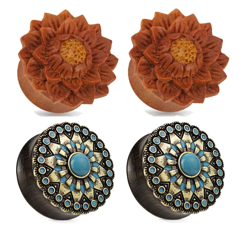 2 Pairs Black Wood Turquoise Flower Jackfruit Wood Ear Plugs Tunnels 0g 1/2 9/16 5/8 3/4 7/8 1 Inch Zaya Body Jewelry w71