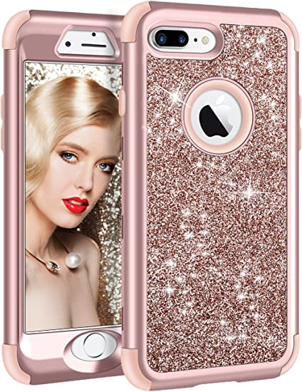 Vofolen Case for iPhone 8 Plus Case iPhone 7 Plus Case Glitter Bling Shiny Heavy Duty Protection Full-body Protective Hard Shell Rubber Bumper Armor ...