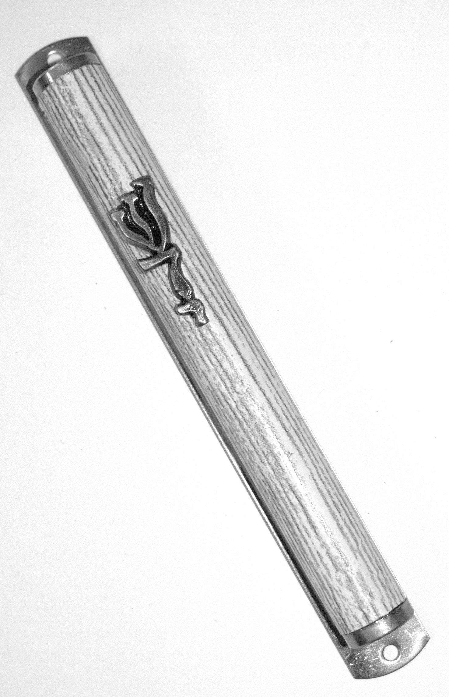 Judaica Mezuzah Case Metal Gray White Striped Mock Wood Shadai Closed Back 12 cm