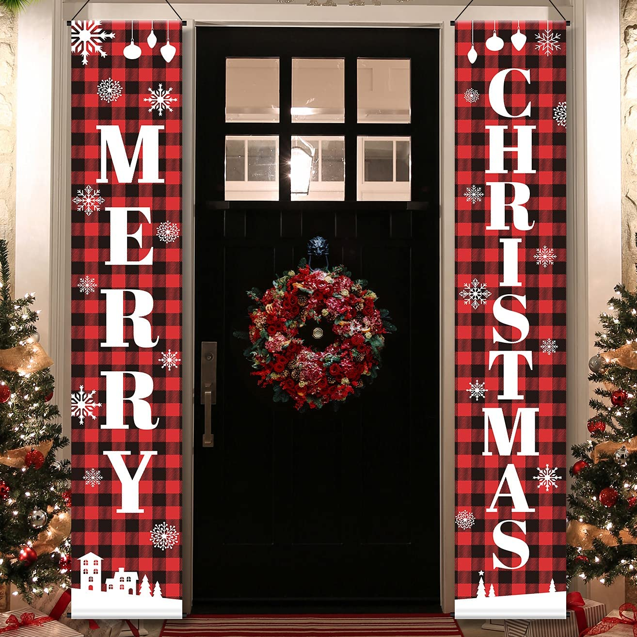 FROZZUR Christmas Xmas Porch Sign 2 Pack, Red Black Buffalo Plaid Decor Merry Christmas Door Banners Hanging Decorations for Home Yard Indoor Outdoor Front Door Wall, 13