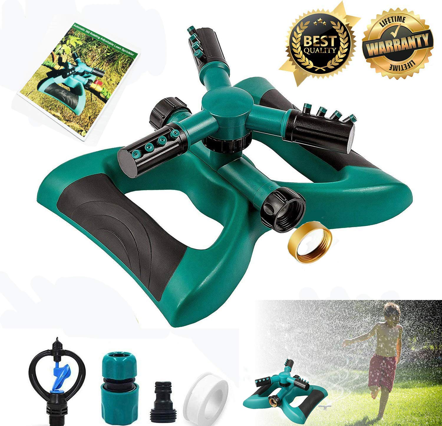 Cybbo Garden Sprinkler, 360° Rotating Lawn Sprinkler a Large Area Coverage - Adjustable, Weighted Gardening Watering System