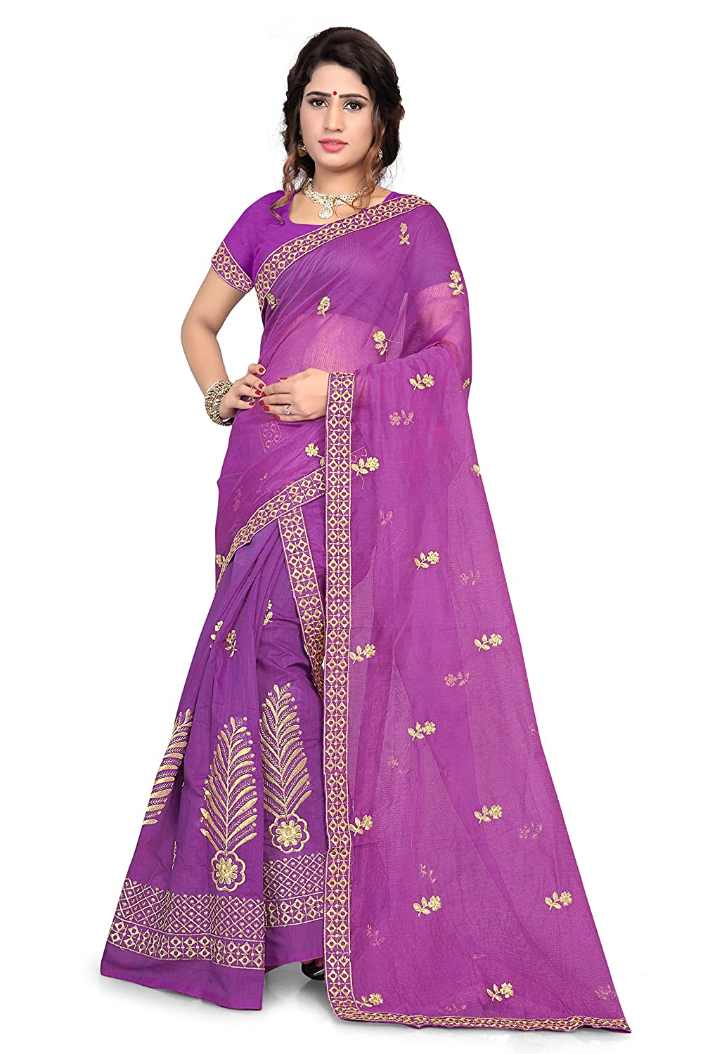 Art Silk Saree with Blouse Piece For Party Wear