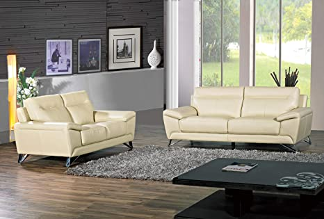 Cortesi Home Phoenix Genuine Leather Sofa & Loveseat Set, Cream