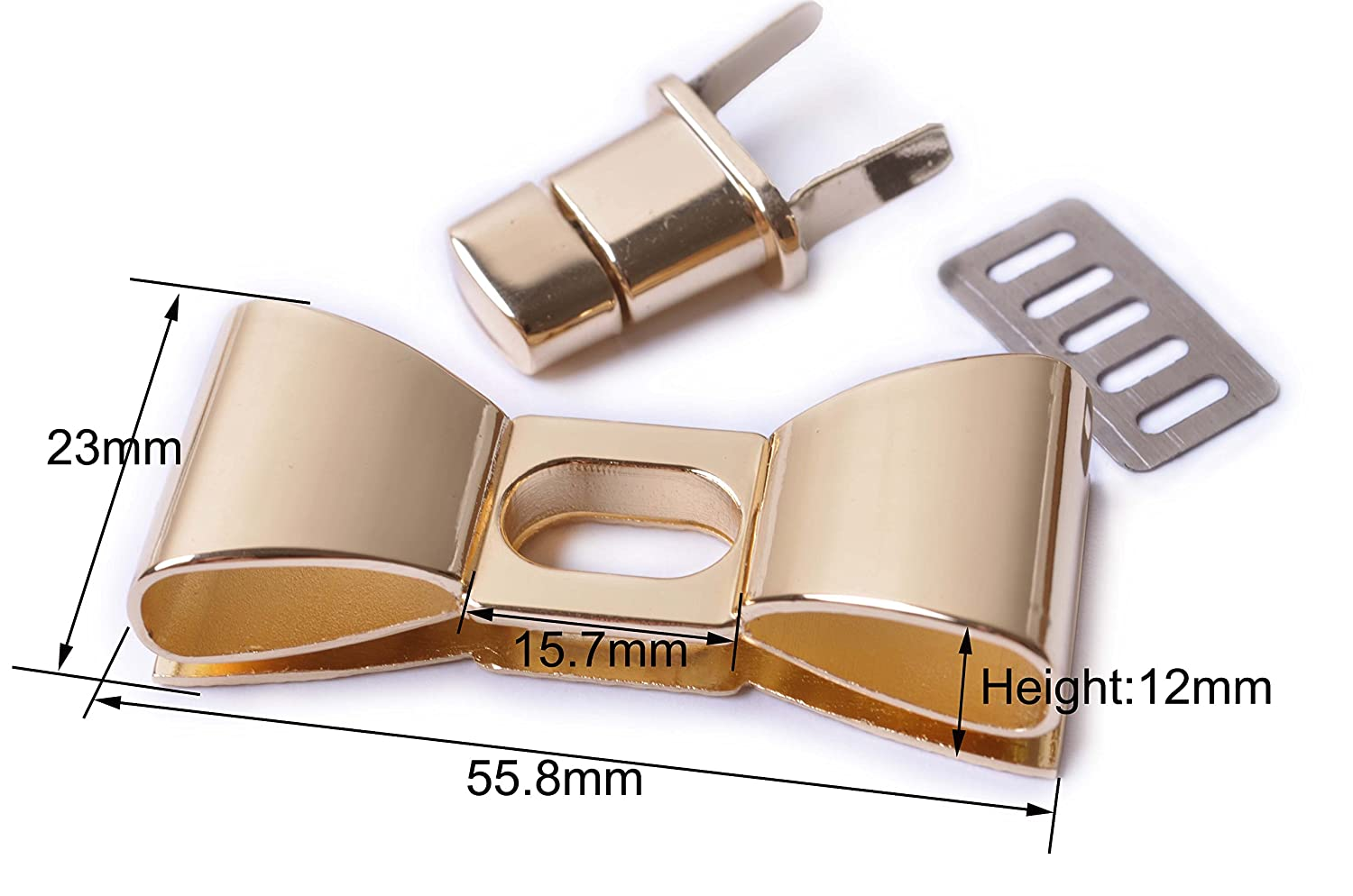 Bobeey 2sets 55x23mm Classy Light Gold Bowknot Purses Locks Clutches Closures,Metal Bow Shape Twist Locks Purse Closure Turn Locks BBL5