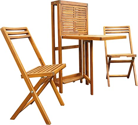 Interbuild Real Wood Set Tavolo Da Parete Con Cerniera Piccolo A Doghe Scaffale Da Tavolo Set Di Scaffali In Legno 1 Tavolo E 2 Sedie Finitura In Teak Dorato