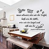 Wandtattoo AA084 Küche Wandaufkleber Kaffee muss schwarz sein wie der Teufel,heiß wie die Hölle und...Wallsticker Wandsticker Wall Tattoo Grösse 86cm x 58cm