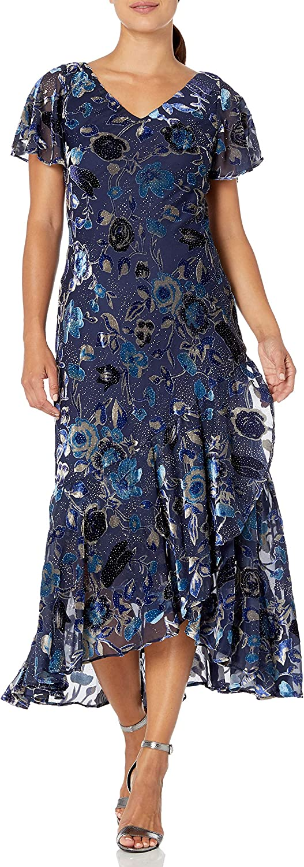 Alex Evenings Women's Long Velvet Burnout Dress (Petite and Regular Sizes)