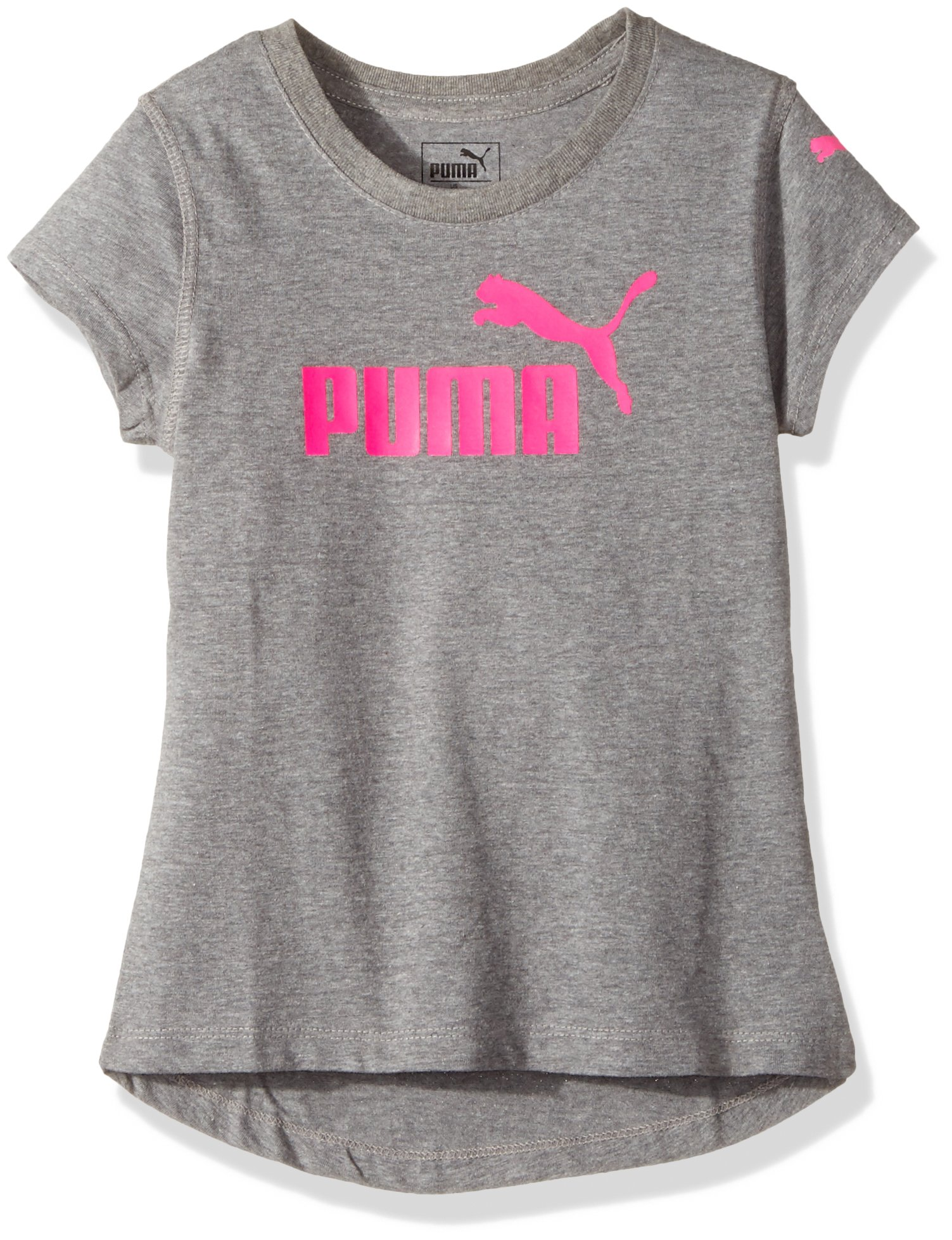 PUMA Big Girls' Logo Tee, Medium Gray Heather, Extra Large