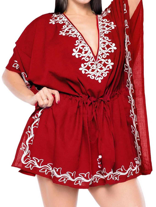 La Leela繊細刺繍レディースレーヨンBeachwear水着水着ビキニカバーアップ B01N1I247P 6 Long|レッド