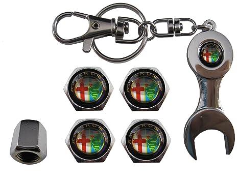 Valvulas de acero inoxidable para coche + llavero Alfa Romeo ...