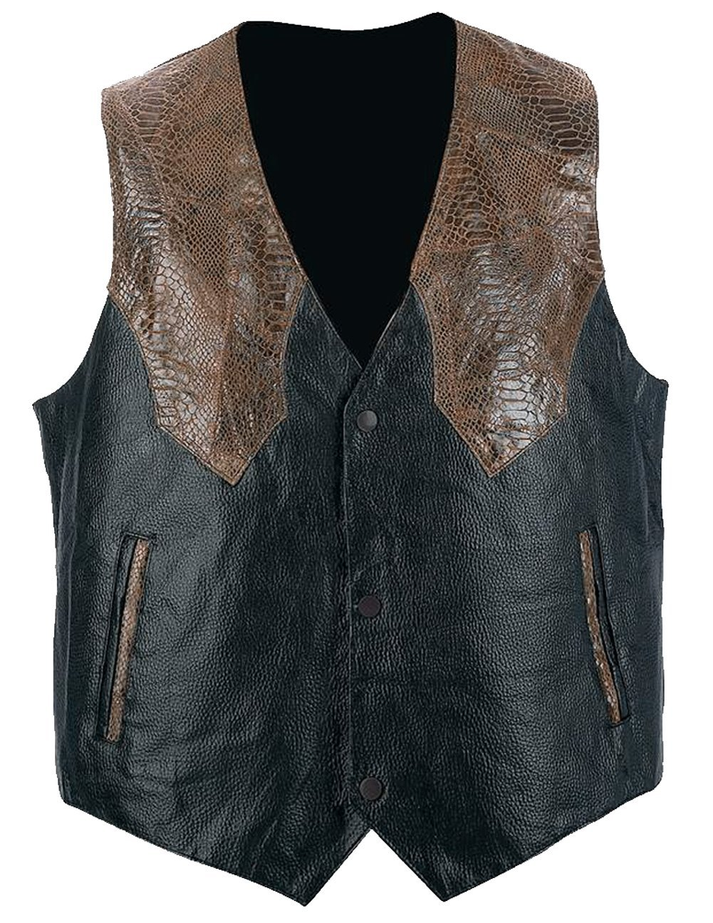 Giovanni Navarre™ Hand-Sewn Pebble Grain Genuine Leather Western-Style Vest,XL