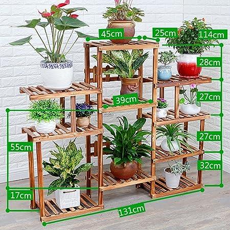 ZWJhj Estante de la Flor Escaleras para estanterías Jardín de Interior Macetas de Hierbas Vitrina Plegable de bambú (Opciones de tamaño múltiple) Macetas para Flores Estante (Color : B): Amazon.es: Hogar