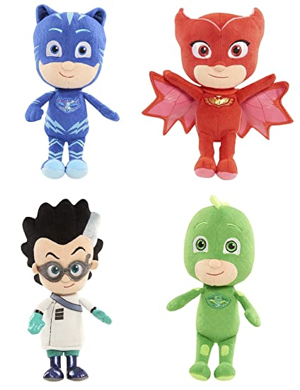 "Disney Junior PJ Masks Set of 4 Plush Bean 9"" Stuffed Toys Catboy Owlette Gekko"