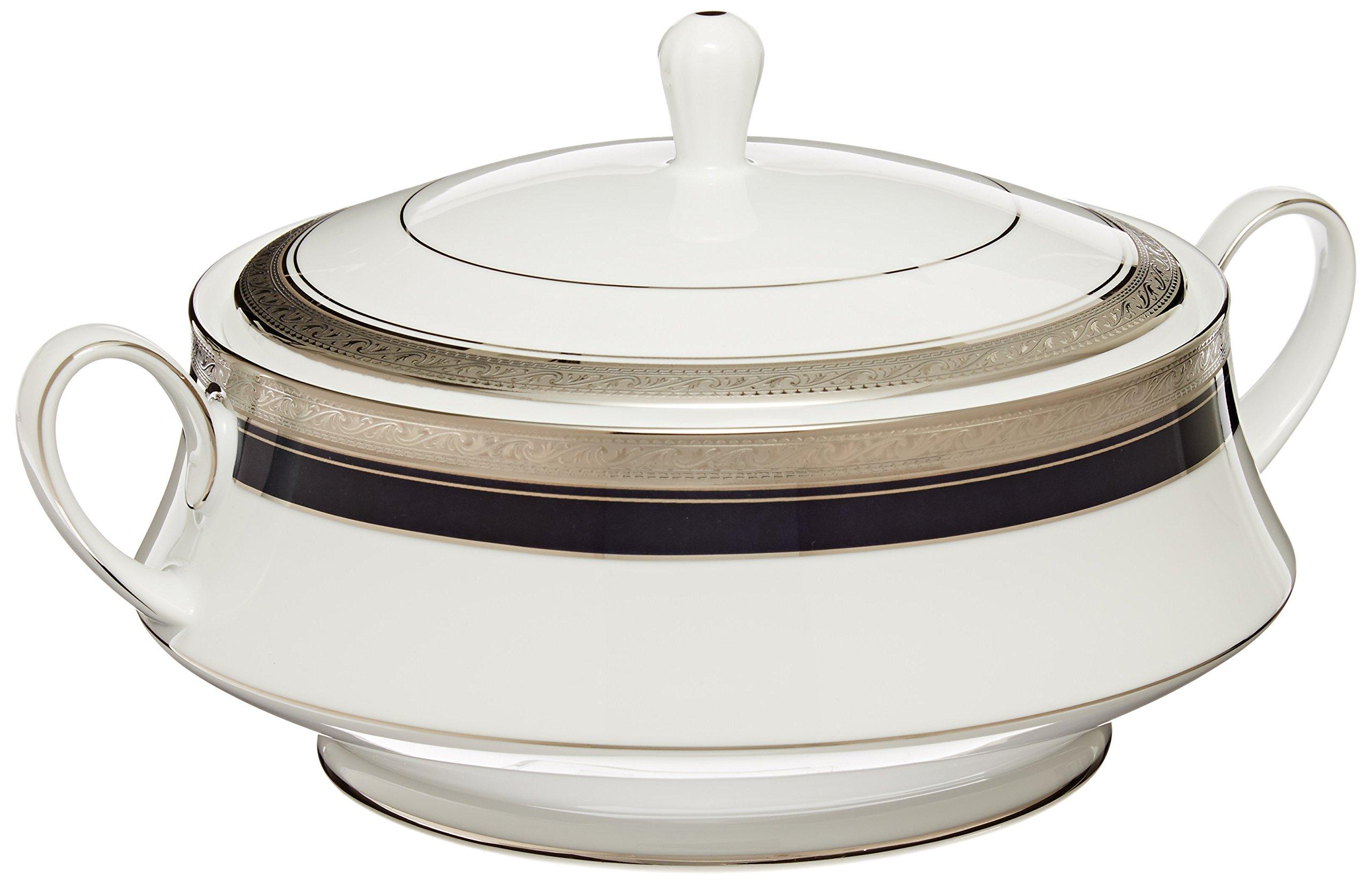 Noritake Crestwood Cobalt Platinum Covered Vegetable Bowl