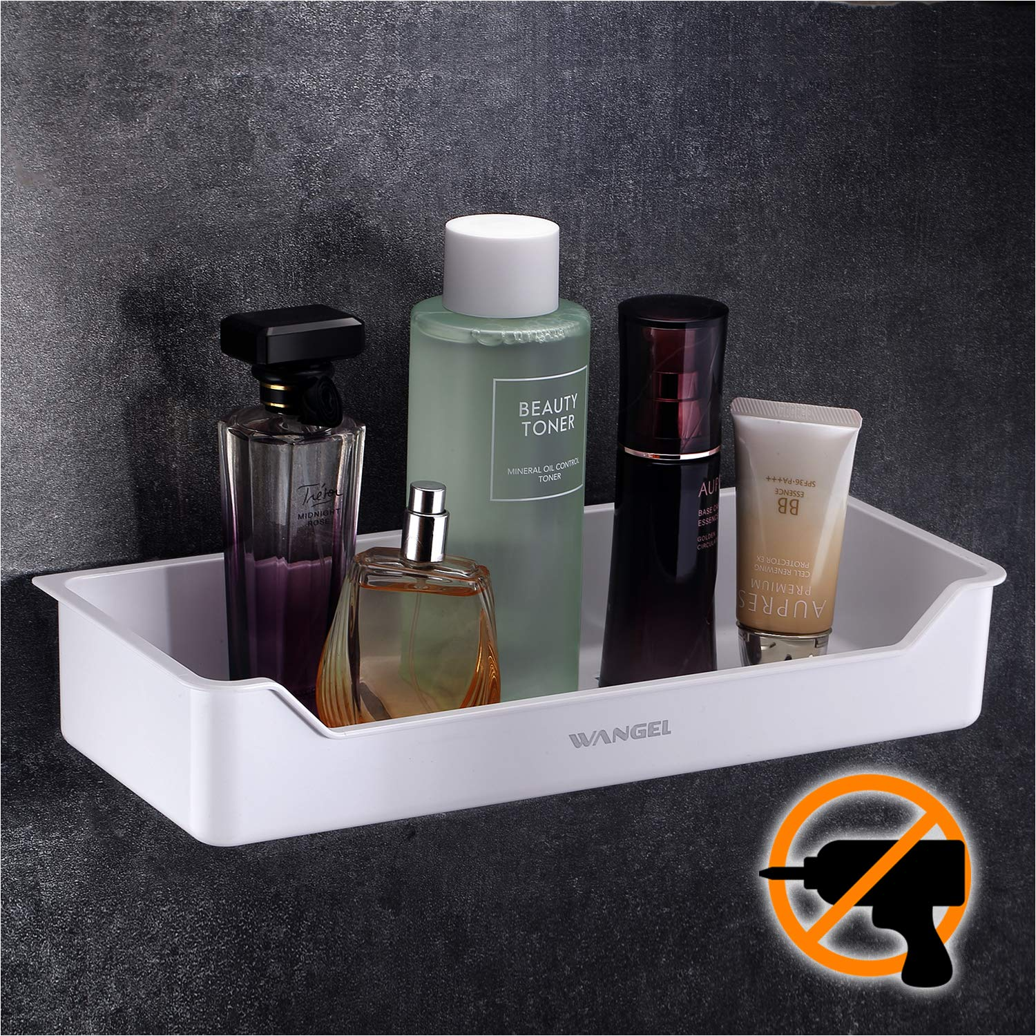 Wangel Shower Storage Basket Shelf for Bathroom and Kitchen, Traceless Adhesives Tape Stickers, No Drilling, ABS Plastic