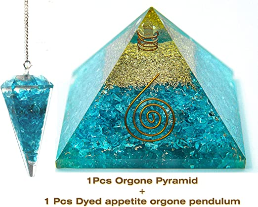 Turquoise Orgone Crystal Pyramid for Chakra Balancing Reiki Healing EMF Stone