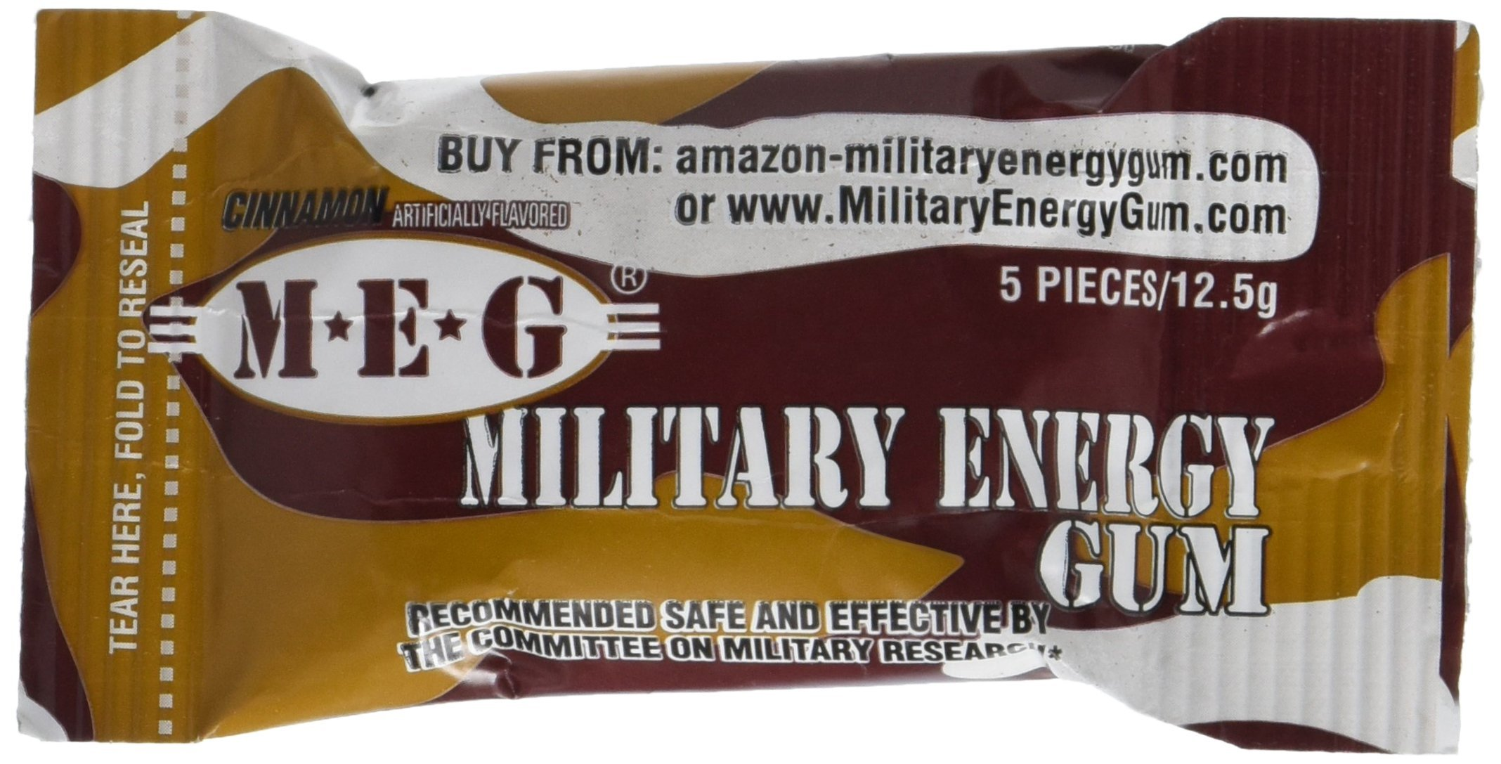 MILITARY ENERGY GUM (MEG) – Military Spec Formula – Used in Military Rations – CINNAMON - TRAY (24 packs - 5pcs/pk) 100mg caffeine/pc