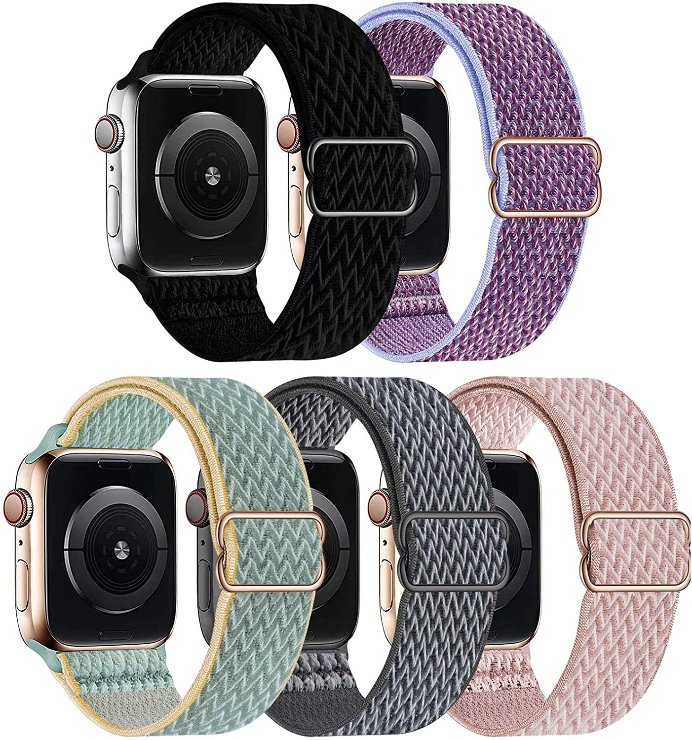 GBPOOT 5 Packs Nylon Stretch Band Compatible with Apple Watch Bands,Adjustable Soft Sport Breathable Loop for Iwatch Series 6/5/4/3/2/1/SE,Black/Lilac/Sunshine/Storm Gray/Rosepink,38/40mm